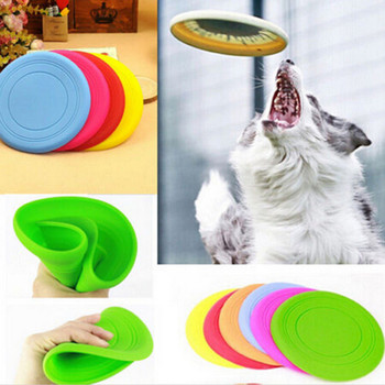 1PC Home Garden Pet Dog Cat Play Treat Training Tool Soft Non-toxic Silicone Tooth Resistant Flying Saucer Pet Toy 1