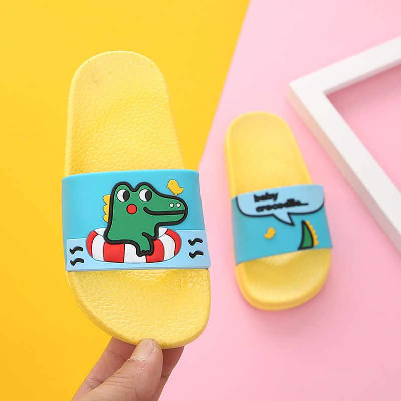 קריקטורה דינוזאור קיץ כפכפים ילדים חמוד חוף מים כפכפים ילדים בני בית מקורה נעלי תינוק ילדה מצחיק גן סנדלי