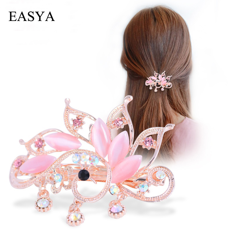EASYA Pretty Big Rhinestone Peacock Hair Barrettes Ornaments Jewelry Fashion Crystal Metal Hairpin Hairwear For Women Girls