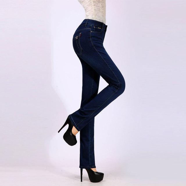 Plus Size Women Jeans 2016 Winter High Waist Jeans Female Elastic Skinny Slim Jeans Trousers For Women Denim Pencil Pants Large