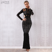 Bandage-Dress Evening-Party-Dresses Mermaid-Club Hollow-Out Lace Sexy Black Winter Women