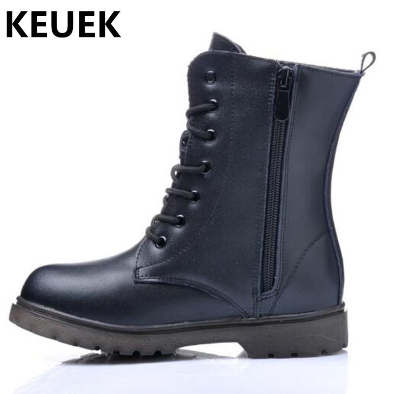 NEW Autumn/Winter Children Shoes Genuine Leather Boys Girls Mid-Calf Motorcycle boots Basby Student Snow Boots Kids High 04