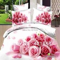 Livraison gratuite! 3D lit dans un sac set 4 pcs rose rose fleurs peinture à l'huile literie couette en coton/housse de couette reine lit ensemble