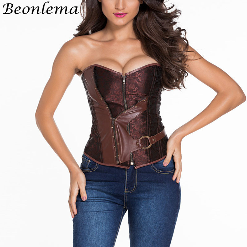 BEONLEMA Black   Bustier   Sexy Steampunk   Corset   Back Tight Lacing Up Gothic Clothes Femme Ropa Interior Plus Size XXXXXXL Brown Top