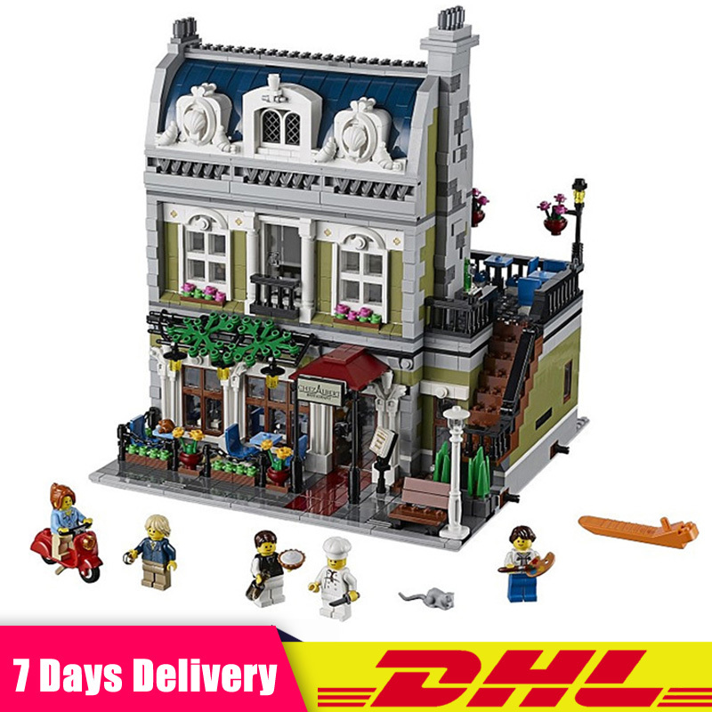 City Street Parisian Restaurant Model Building Bricks Blocks Educational Toys for Children Gifts Compatible LegoINGlys 10243 hsanhe mini micro street building blocks educational toys compatible with legoe blocks city bricks gifts for children kids