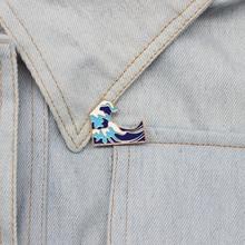RNG мультяшная Голубая волна цветок металлическая эмалированная булавка на лацкане забавная Зеленая волна Мужская и женская модная брошь, ювелирный подарок