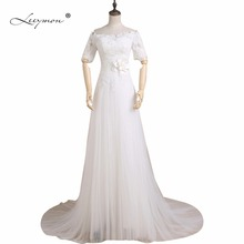 Leeymon A-line Short Sleeves Wedding Dress 2019 Detachable