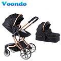 Voondo Wandelwagen beschikbaar, liggende en vouwen, hoge en draagbare, dubbelzijdig pasgeboren schokdemper 0-4 maanden kinderwagen