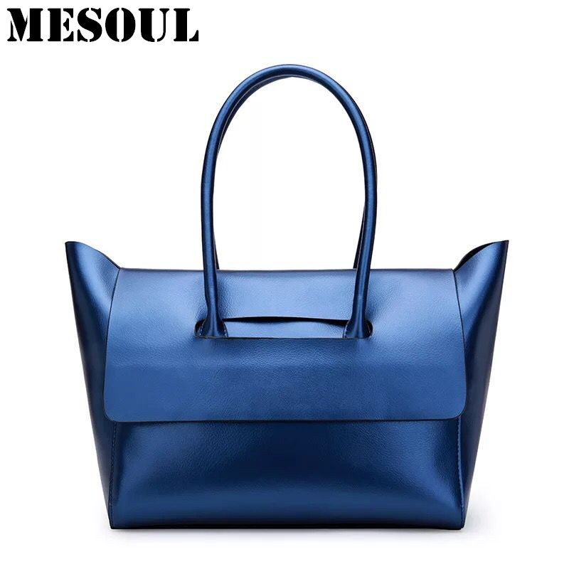 Fashion Handbag Women Shoulder Bag Female Genuine Leather Brand Tote Lady Blue Silver Top-handle Bags Luxury Trapeze Hand Bag