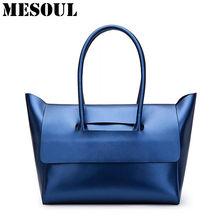 681cac10225c5 Mode Handtasche Frauen Schulter Tasche Weiblichen Echtem Leder Marke Tote  Dame Blau Silber Top-griff Taschen Luxus Trapez Hand t.