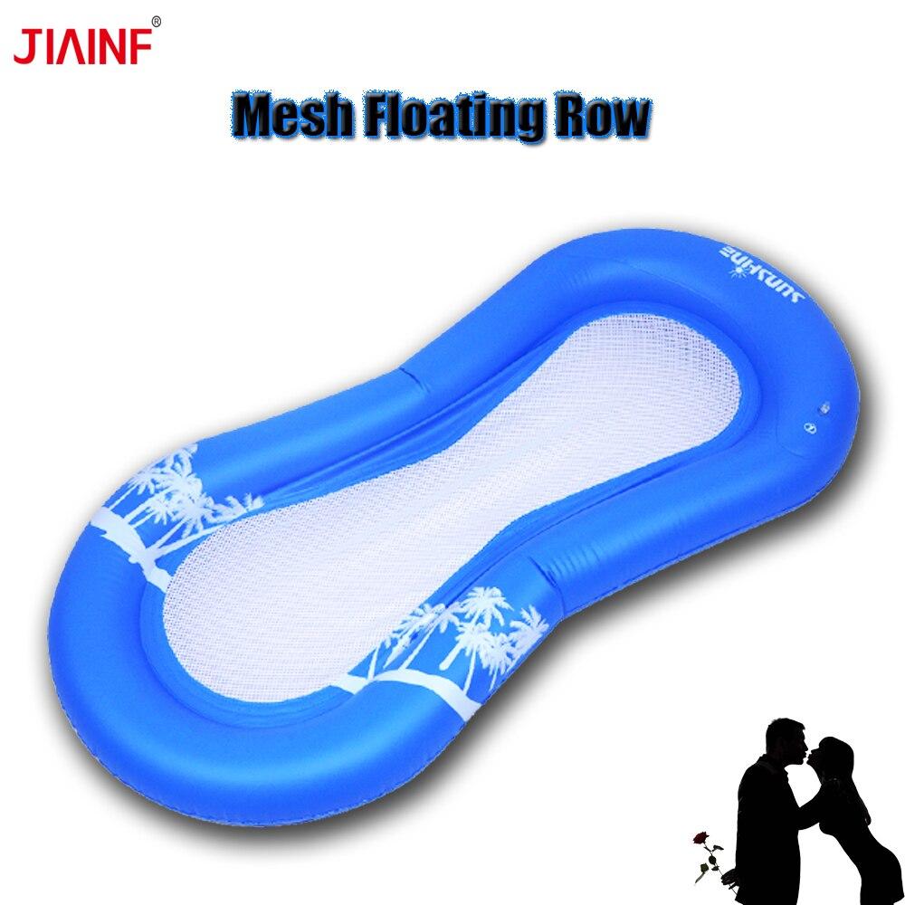 JIAINF 2018 bleu maille gonflable flottant rangée Flamingo piscine flotteur île partie jouets pour adultes eau flotteur Pad
