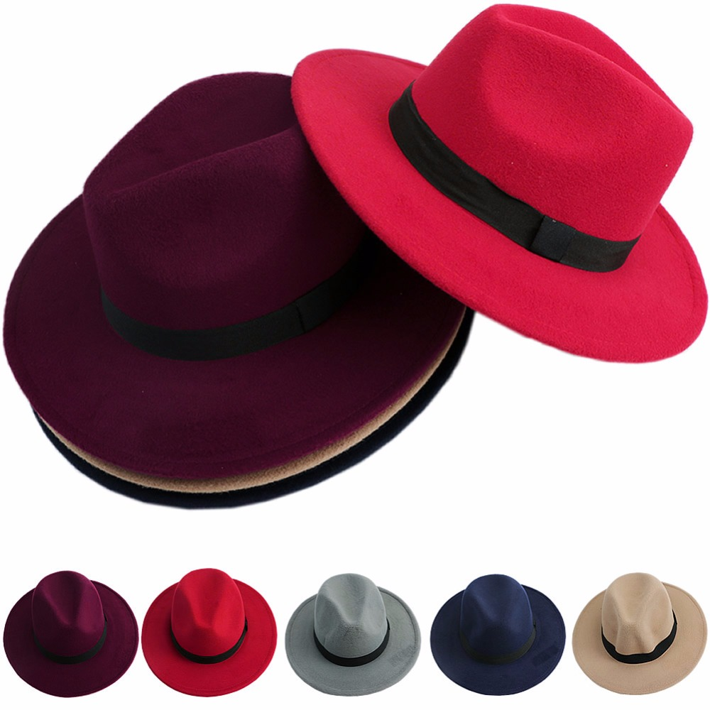 Fashion Hot New Men Women Jazz Bowknot Hard Felt Fedora Bowler Panama Wide Hat Brim <font><b>Gangster</b></font> Cap 4 Colors image