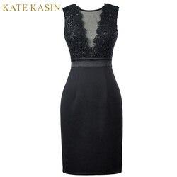 Kate kasin elegant short prom dresses 2017 sleeveless v back pencil party dress women black bodycon.jpg 250x250
