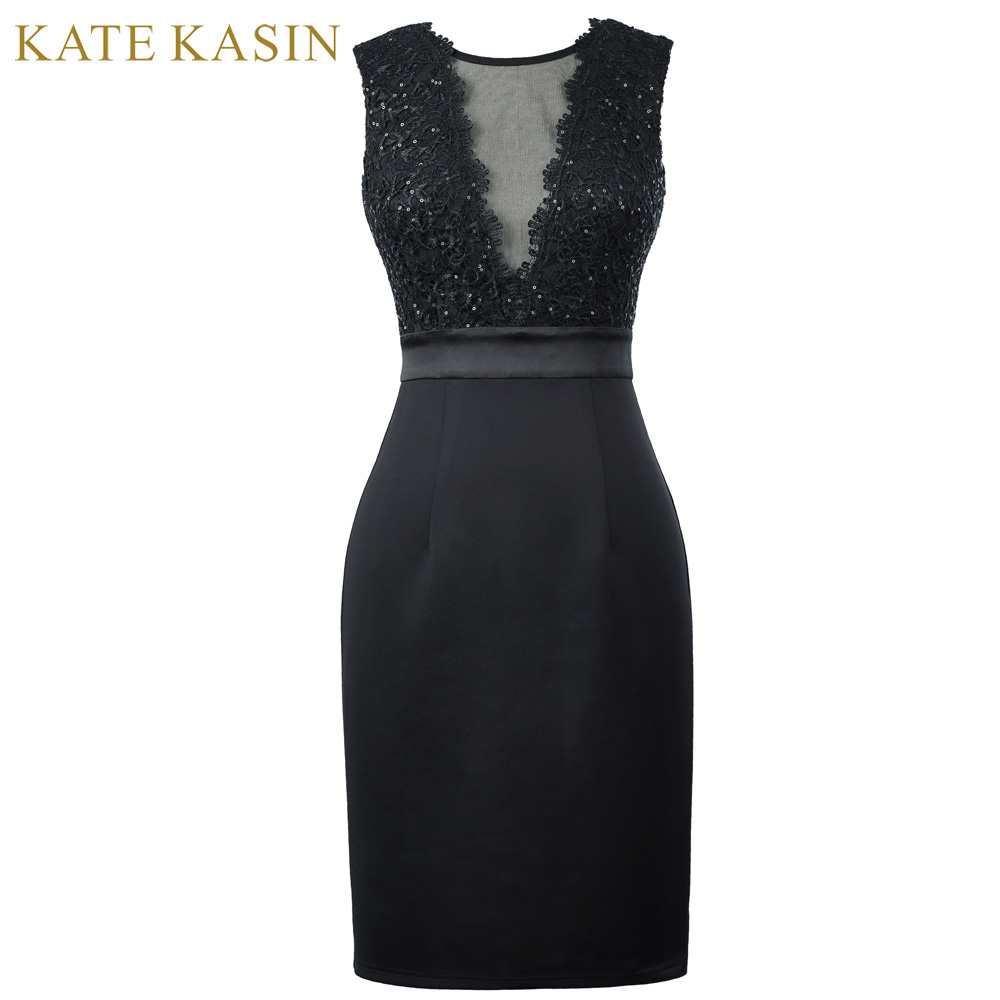 Kate Kasin Elegant Short Prom Dresses 2017 Sleeveless V Back Pencil Party Dress Women Black Bodycon