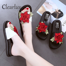 цена на Flower slippers summer fashion brand new thick bottom non-slip soft bottom open toe round head casual wild women's shoes C0938