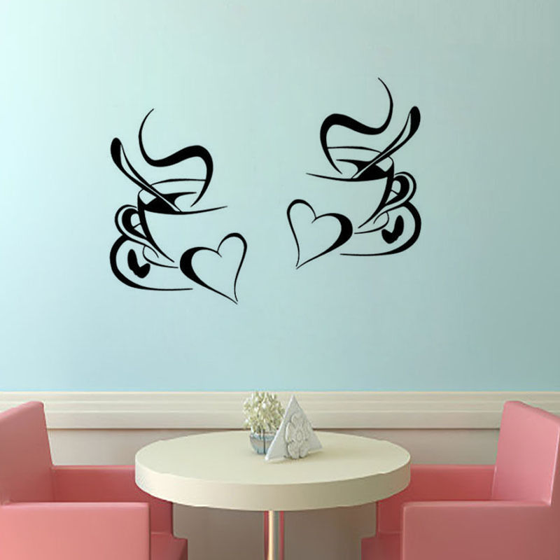 kitchen wall sticker coffee 2pcs coffee cup with heart kitchen vinyl