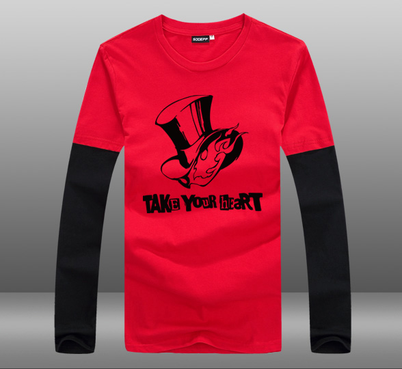 2016 Game Persona 5 Take Your Heart Cotton Long Sleeve O Neck Contrast Color T font