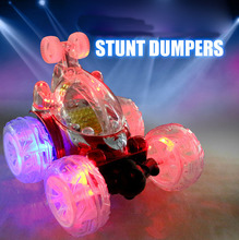 Glowing RC Cars 360 Degree Rotate Remote Control Cars Stunt Dumpers with Music Birthday Toys Gift for Boys Children