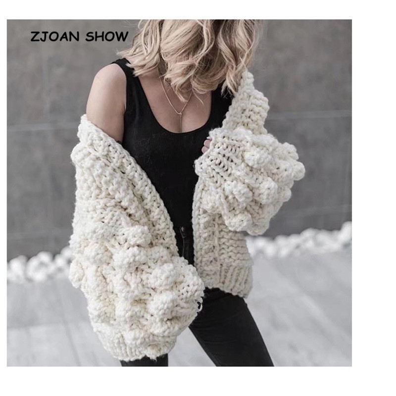 9 Colors Street V Neck Ball Shape Cardigan Sweater Retro Women Long Sleeve Knitted Knitwear Jumper Kleding Jerseis Mujer Femme