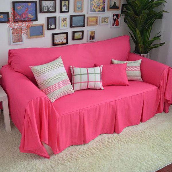Pink Sofa Cover: 200*240cm 2015 New Fashion Hot Pink/blue Solid Home