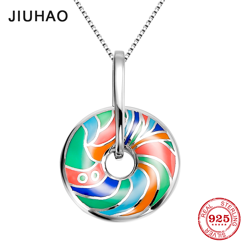 2018 round shape Colorful Enamel Pendant Necklaces jewelry For Women Party Fashion 925 Sterling Silver Necklace Valentine's Day chic feather letter round shape noctilucent pendant necklace for women