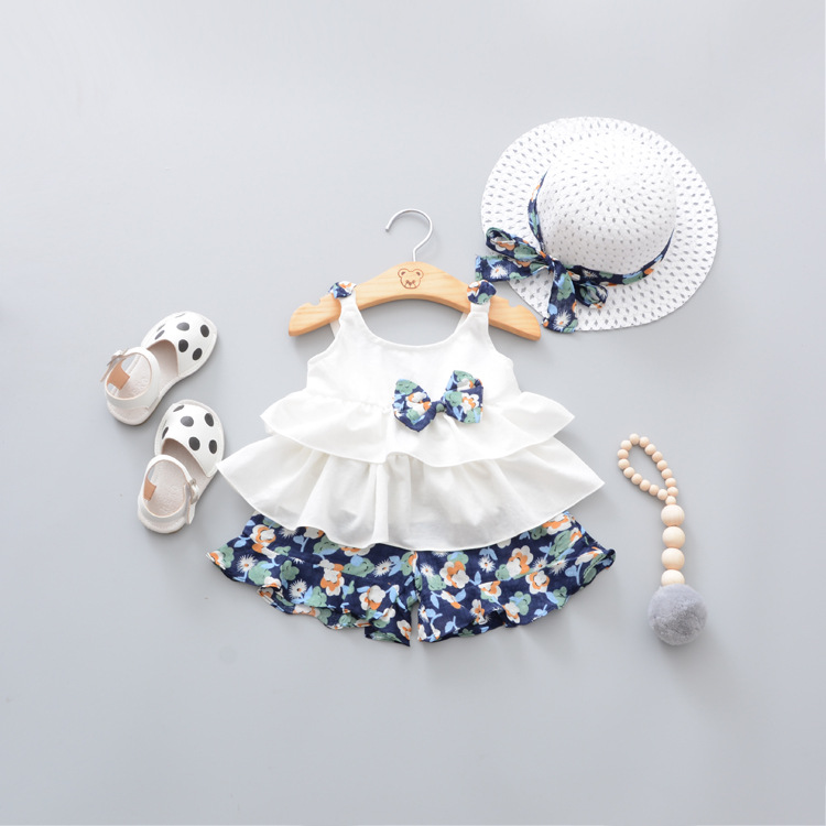 67045e57f9 US $11.84 20% OFF 2018 Summer Newborn Baby Girl Clothes Strap Bow Vest +  Floral Shorts + Fashion Hat 3Pcs Set Baby Clothing Suit For Girls  Clothes-in ...