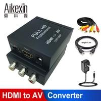 Aikexin HDMI to RCA Converter,1080P HDMI to AV 3RCA CVBs Composite Video Audio Converter Adapter Support HDTV TV PS3 PC VCR NTSC