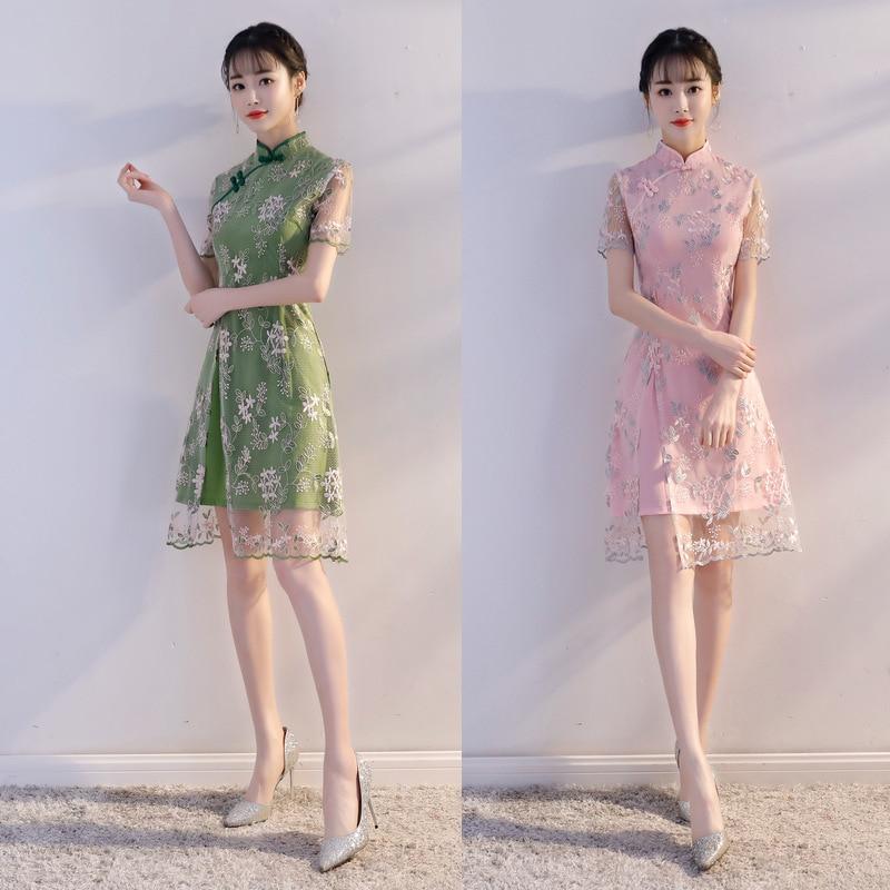 d875e97c5b5 New Arrival Traditional Chinese Women Dress Elegant Ladies  Sexy Lace Qipao  Novelty Flower Slim Short Cheongsam Size S-XXL Z133