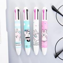 Criativo caneta esferográfica Multifuncional caneta esferográfica kawaii papelaria coreano bonito coelho multicor 4 em 1 material escolar no atacado