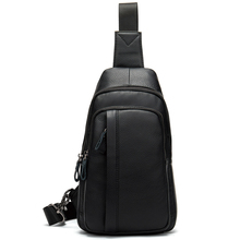 Genuine Leather Men's Sling Chest Bag Pack Casual Cross body Bag Waist Shoulder Messenger Back Pack For Travel Male Handbag New new men genuine leather first layer cowhide high capacity travel cross body shoulder messenger sling chest day pack bag