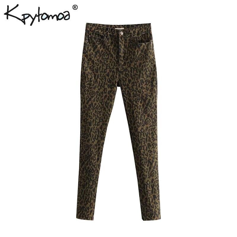 Vintage Stylish Leopard Pattern   Jeans   Women Denim Pants 2018 Fashion High Waist Animal Print Trousers Casual Pantalones Mujer