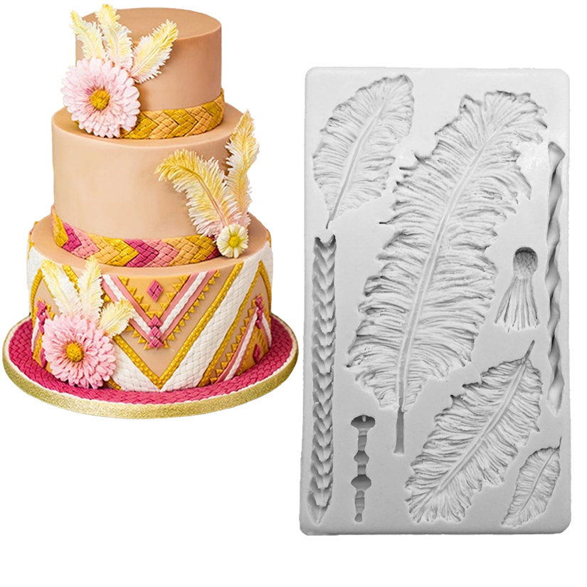 Wholesale 10 pcs Big Feathers Silicone Mold Fondant Cake Decorating Tools Candy Chocolate Gumpaste Mold