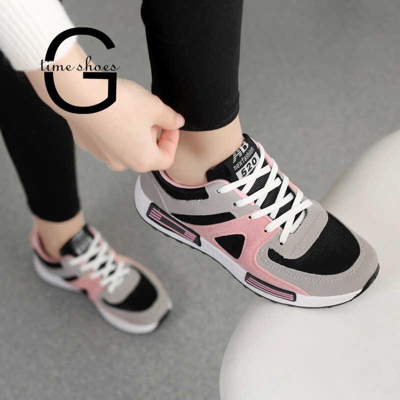 Gtime Beathable أحذية رياضية امرأة الشقق سلة مريحة شبكة الدانتيل يصل أحذية رياضية النساء Chaussure فام فلكنيز أحذية SE615
