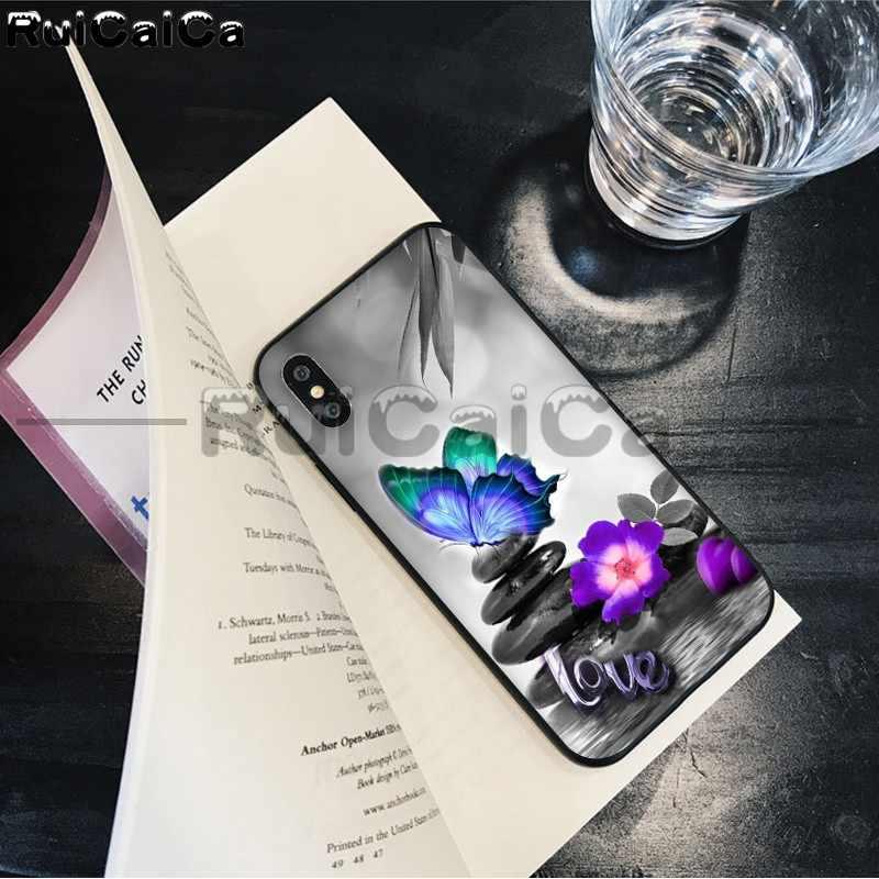 RuiCaiCa bướm Đỏ trên hoa hồng trắng Hoa Vẽ Điện Thoại Ốp Lưng dùng cho Iphone X XS MAX 6 6 S 7 7 Plus 8 8Plus 5 5S SE XR