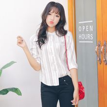 2017 Women'S Ulzzang Korean Striped Loose Casual Shirt Female Korean Kawaii Cardigan Blouses Tops And Clothing For Women