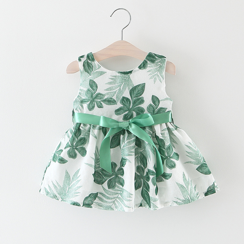 787449e19 Floral Print Baby Girl Dress with Bow A-Line Sleeveless Summer Dress ...