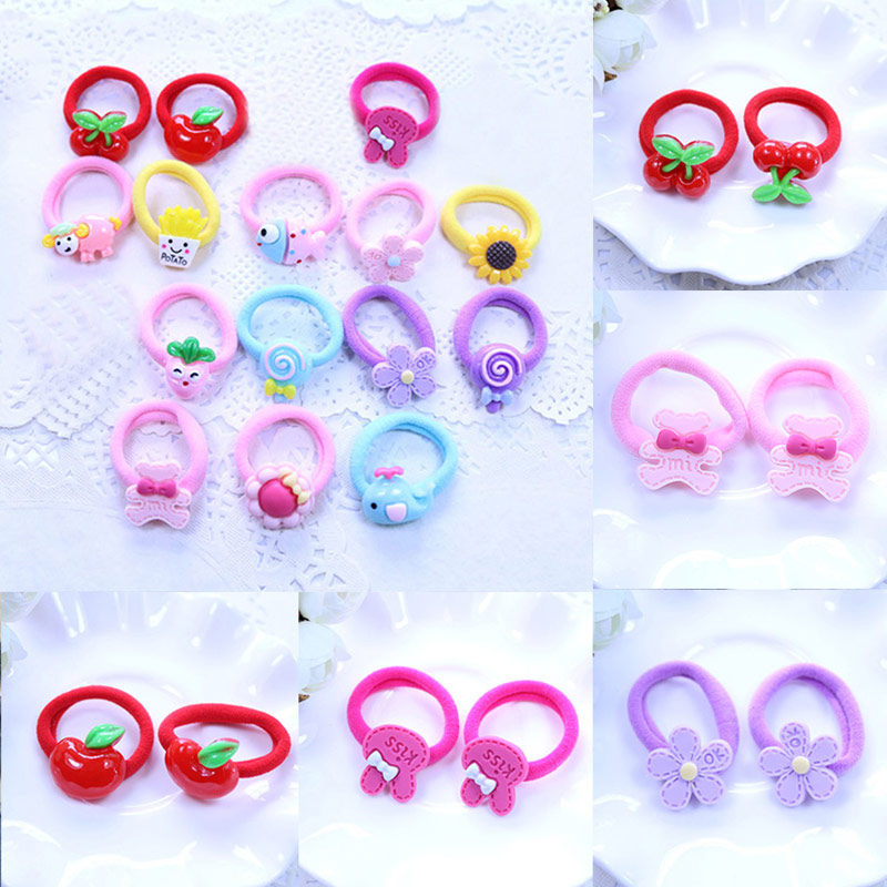 Hair Accessories Popular Girls Sweet Hair Rope Cute Headwear 2PCS/Lot Children Baby Elastic Hair Bands Rubber Bands Hot Sale