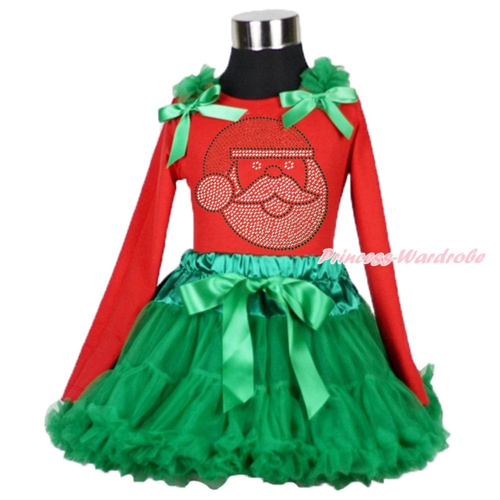 XMAS Red Top Rhinestone Santa Claus Print Kelly Green Skirt Girl Outfit Set 1-8Y MAMG206 xmas minnie snowman white shirt top santa claus skirt girl clothing outfit 1 8y