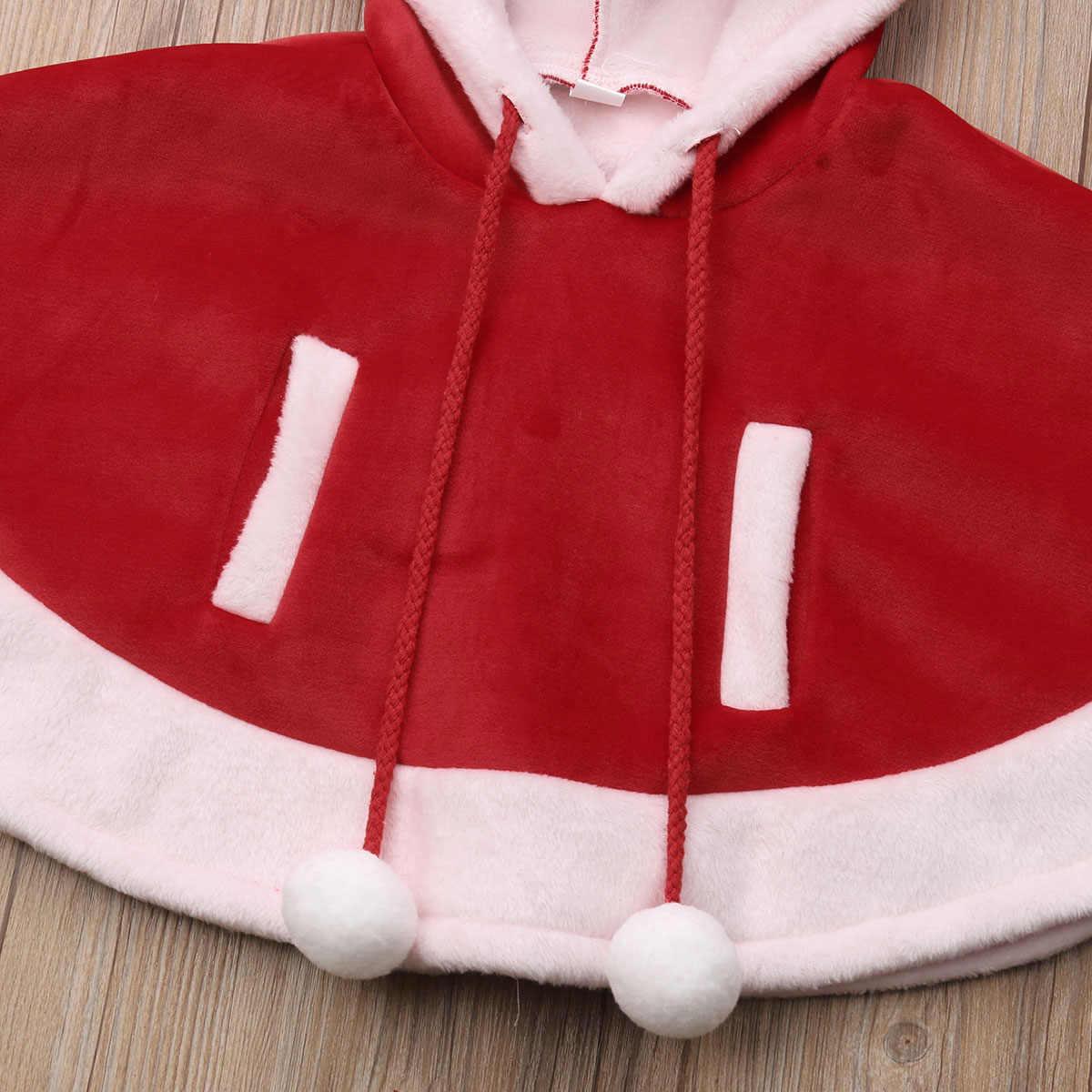 חג המולד אופנה יפה פעוט תינוק בנות בני מעיל חם להאריך ימים יותר גלימת קריקטורה דוב הדפסת ברדס סוודר אדום מעיל 6M-4Y