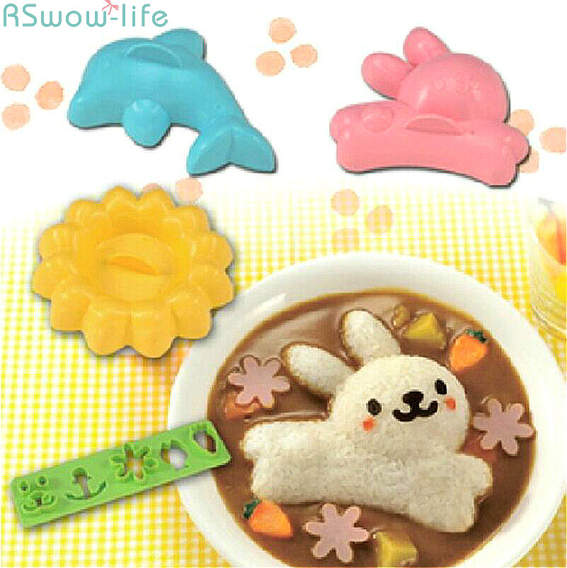 4PCS Cute Rabbit Dolphin Rice Mould Easy to Use Ball Sushi Grinding Tool Kitchen DIY Set Handmade Tools Plastic PP