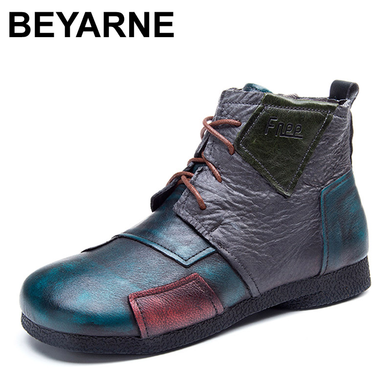 BEYARNE 2017 Fashion Handmade Boots For Women Genuine Leather Ankle Shoes Vintage Mom Shoes Retro Folk Style Sapphire Boots original handmade autumn women genuine leather shoes cowhide loafers real skin shoes folk style ladies flat shoes for mom sapato