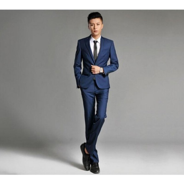 Hot Sale mens Korean Slim blue deep burgundy suits groom suits ...
