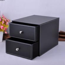 2-estructura de capa doble cajón de madera archivador taquillas de almacenamiento de escritorio de cuero organizador contenedor de documentos blackPWJG005