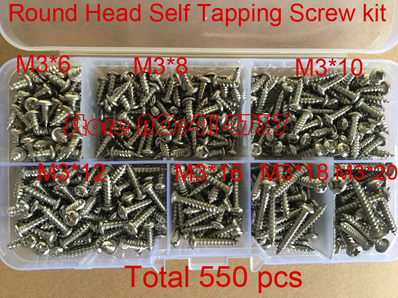 550Pcs M3 stainless steel  cross recessed phillips round pan head self tapping screw kit set M3*6/8/10/12/16/18/20 500pcs lot din7985 stainless steel 304 m3 phillips pan round head machine screw kit m3 5 6 8 10 12