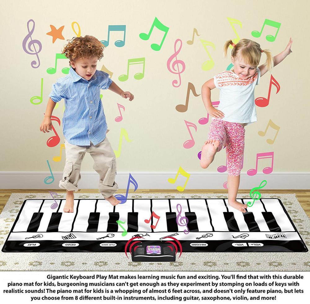Tapis de jeu de clavier gigantesque, tapis de Piano 24 touches, 8 Instruments de musique sélectionnables + jeu-enregistrement-lecture-mode démo - 4