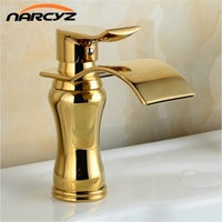 Wide Spout Golden Faucets Bathroom Basin Faucet Brass Mixer Tap Waterfall Faucet G1060