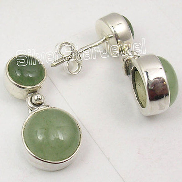 LOW SHIPPING RATES !!  Solid Silver Natural AVENTURINE Studs Earrings 2.2 CM