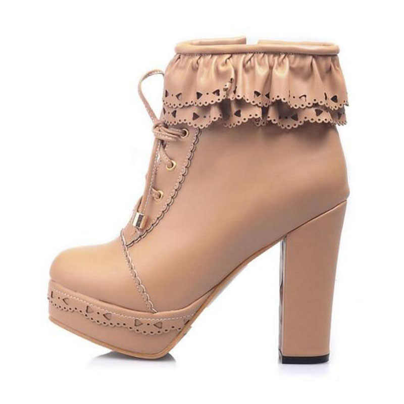 d70c6bddebf ... Ruffles Pink Purple White Students Lolita High-heeled Boots Cosplay Lace  Lolita Sweet Lady Shoes ...