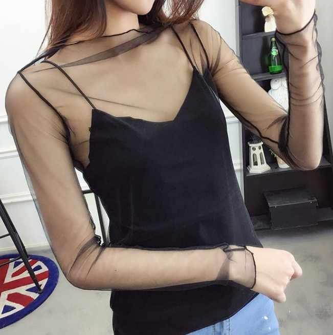 Summer Women Lace Base Blouses Shirt Women tops Sexy mesh Blouses Transparent Hollow Out Long Sleeve Black  Shirt Blouse