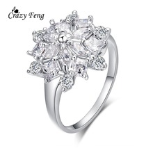 Hot sale Fashion Luxury Womens Wedding Jewelry Silver Plated Cubic Zircon Diamond Flower Finger Rings Bijoux Free Shipping